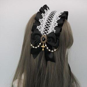 Image 5 - Japonês macio irmã lolita laço headdress doce selvagem kc faixa de cabelo grampo lateral acessórios para o cabelo handwork headdress