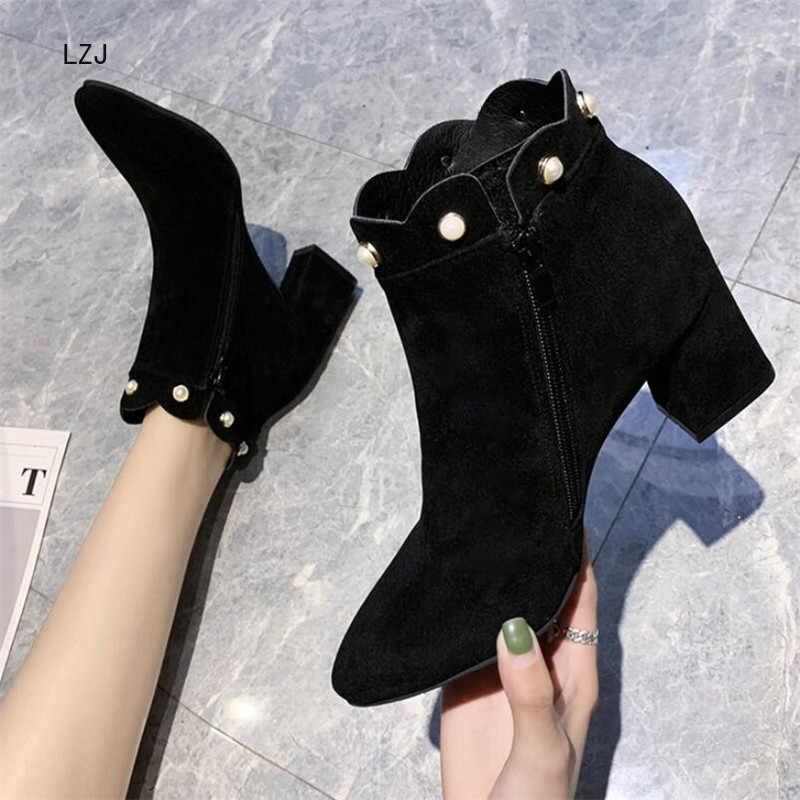 LZJ 2019 New Flock Ankle Boots Women For Autumn Winter Fashion Pointed Toe Square Heel Zipper Woman Dress Boots High 6.5cm