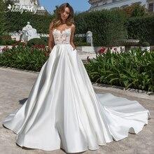 Adoly mey vestido decote costas abertas, apliques de luxo frisado capela trem de noiva princesa, de casamento 2020