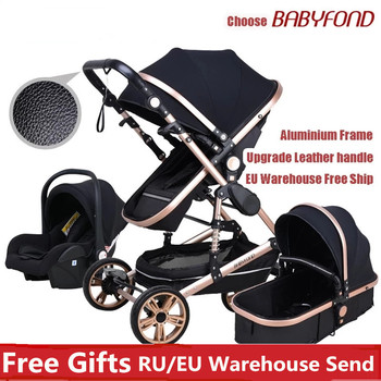 Babyfond Baby Stroller high landscape Kid Car 3 in 1 baby stroller With Car Seat 2 in 1 Newborn Carriage CE safety image