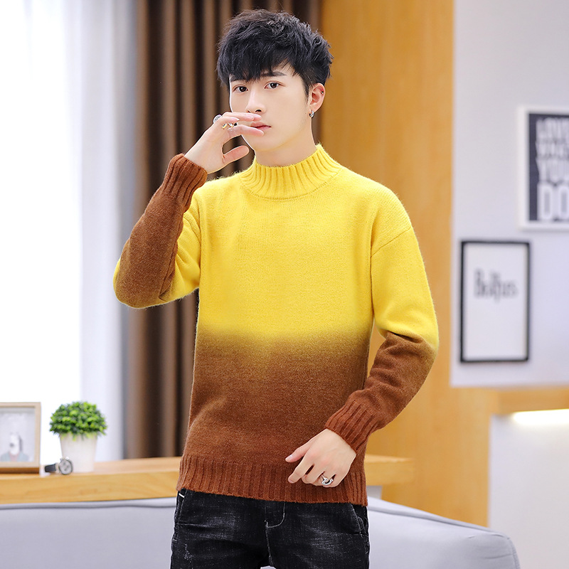 Pink Yellow Green Red Blue Gradation Men Sweater Long Sleeves Winter New Fashion Pullovers O-Neck Casual Mens Sweaters