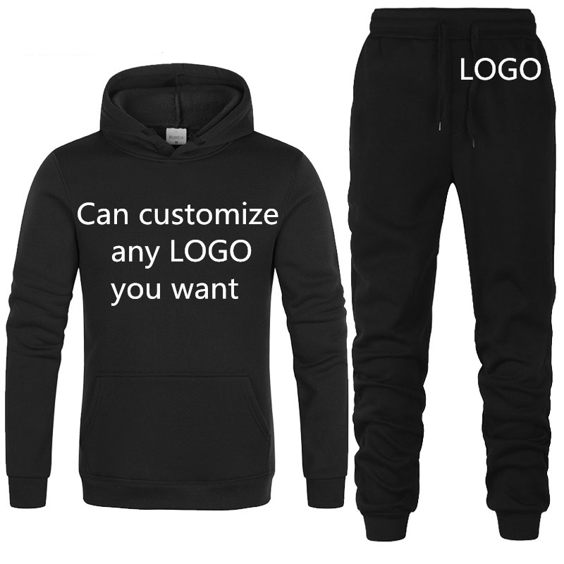 Winter Autumn Warm Tracksuit Hoodies Men Custom Logo Print Casual Sweatshirt Mens Hoodies+Pants 2Pcs HipHop Harajuku Sportswear