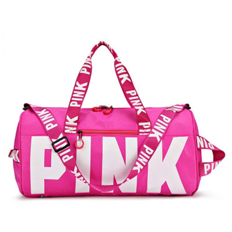 Fitness Travel Handbags Men Women Waterproof Handbag Travel Exercise Bag High Capacity Pink Letter Shoulder Bags Yoga Bags