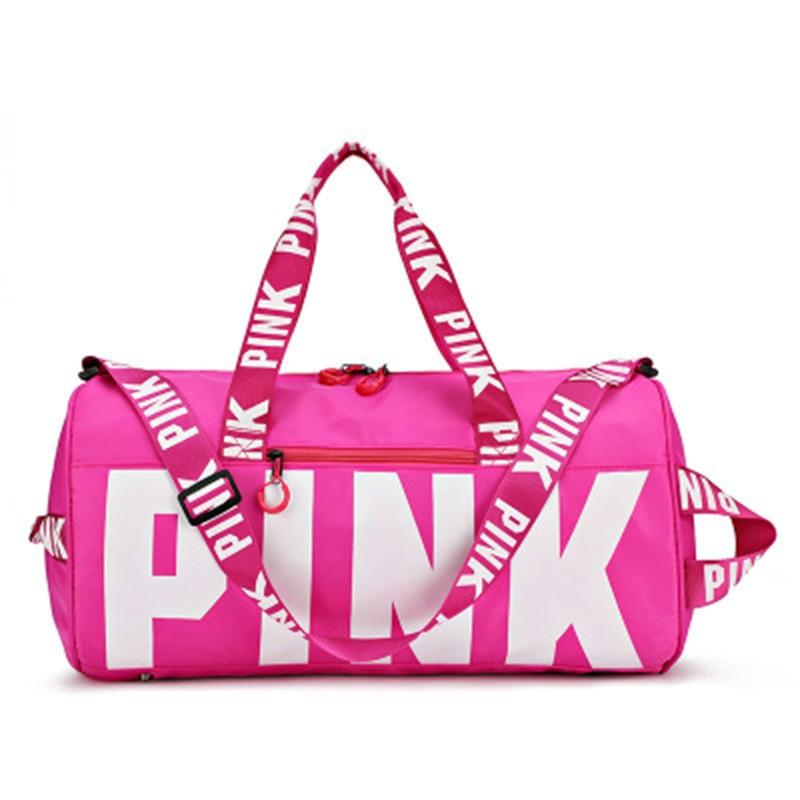 Fitness Travel Sports Bag Women Waterproof Handbag Exercise Travel Bag High Capacity Pink Letter Shoulder Bags Yoga Fitness Bag
