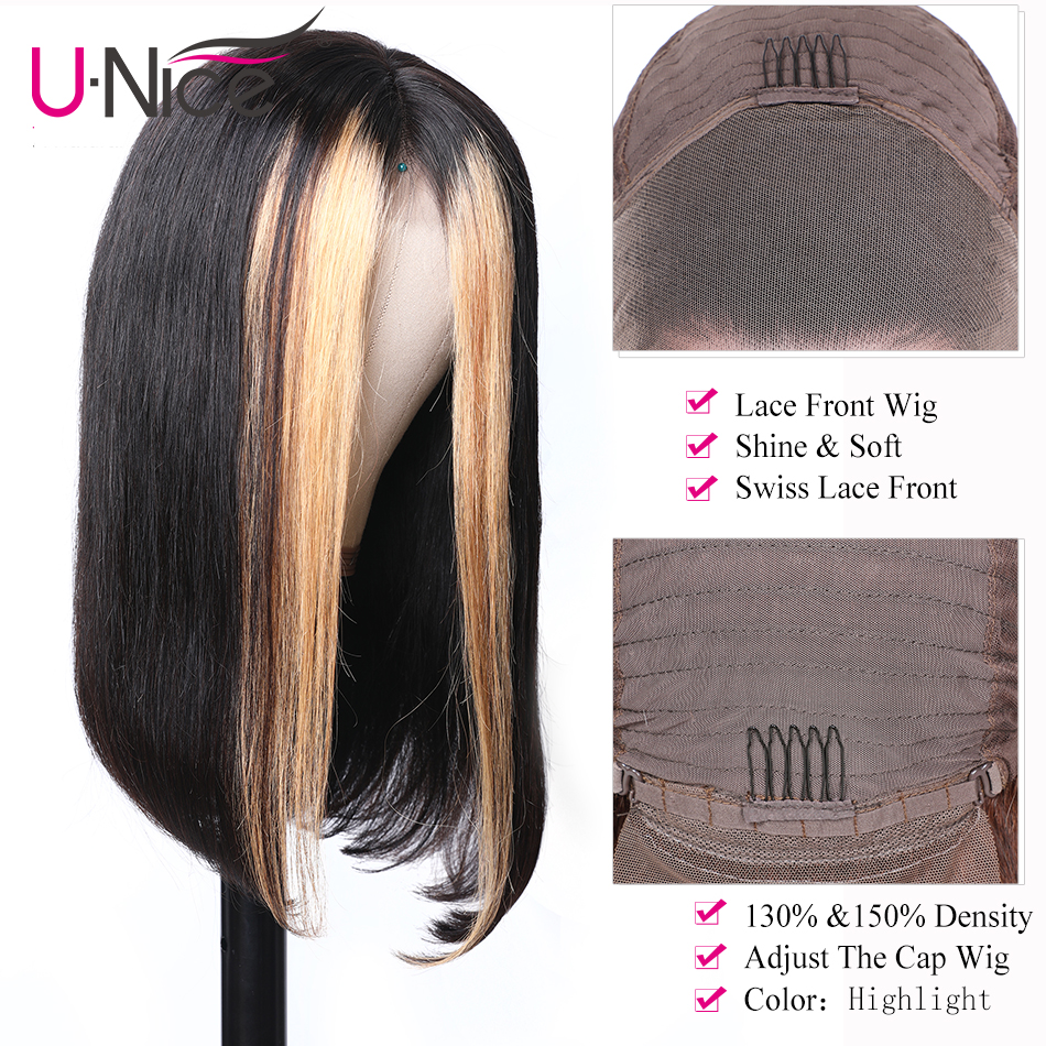 """Image 4 - Unice Hair 13x4 Highlight Lace Front Human Hair Wigs 8 24"""" Brazilian straight Hair Wigs Remy Human Hair Wigs Half Up Half Down-in Lace Front Wigs from Hair Extensions & Wigs"""