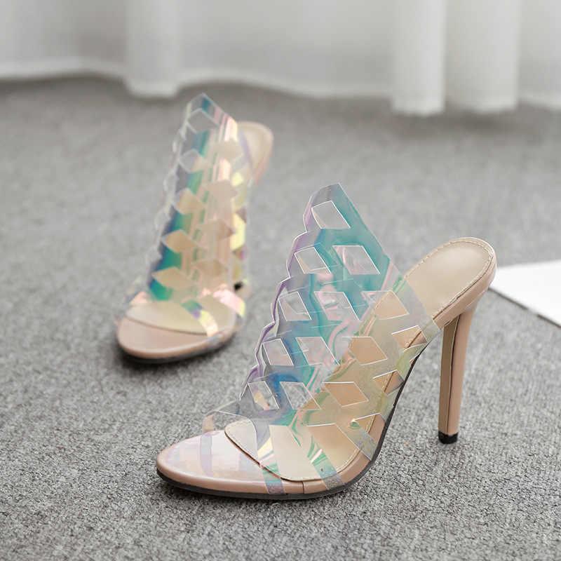 Mieszane kolory moda przezroczyste sandały damskie lato 2019 Peep Toe sandały na wysokim obcasie Sexy Hollow Out szpilki Plus rozmiar