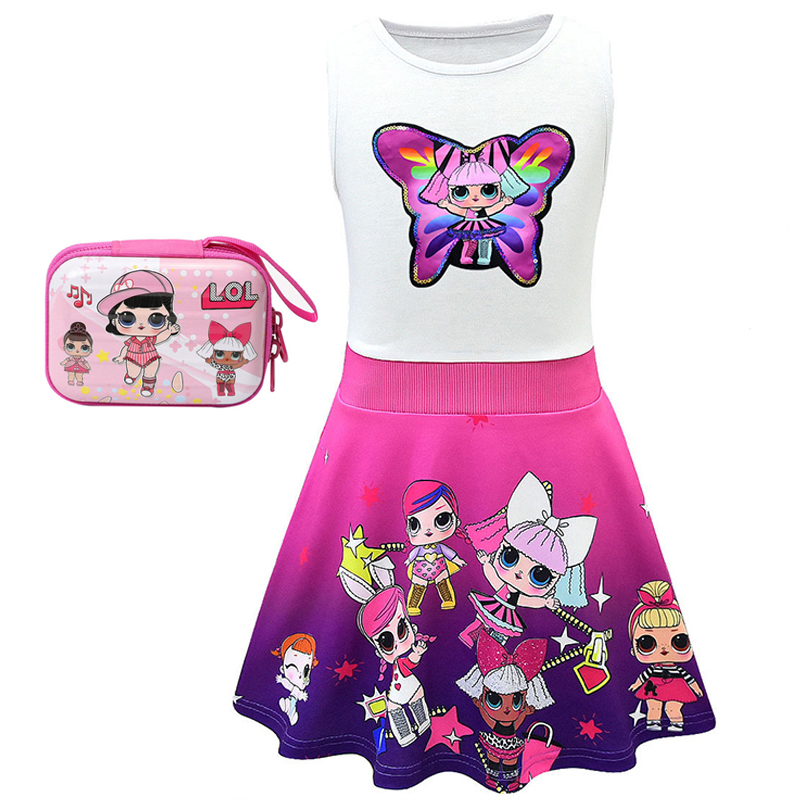 Kids Dresses For Girls 2019 Summer Cute Lol Princess Dress Cartoon Children's Clothes Sleeveless Kids Clothing Vestidos For Girl