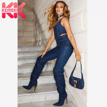 KemeKiss Sexy Lady Over The Knee High Boots For Women Western Thin Heels Shoes Women Party Club Pointed Toe Botas Size 35-43(China)