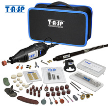 TASP 230V 130W Dremel zestaw narzędzi obrotowych elektryczna Mini wiertarka grawer zestaw z akcesoriami elektronarzędzia na projekty rękodzielnicze
