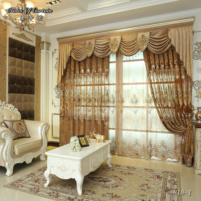 European and American Style Royal Gold Luxury tulle curtains for Living Room window curtain Bedroom Window curtains kitchen/Hote
