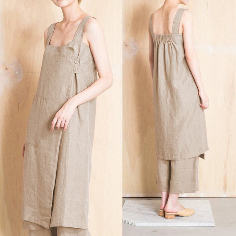 Women Vintage Cotton Linen Dress Celmia 2019 Summer Casual <font><b>Sexy</b></font> Sleeveless Strap Dress Loose Pockets Overalls Vestidos <font><b>Mujer</b></font> <font><b>5XL</b></font> image