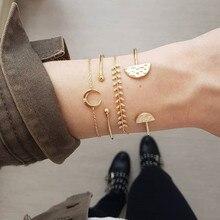 4Pcs/Set Retro Female Moon Leaves Round Crystal Gem Chain Opening Gold Geometry Beach Bracelet Set Fashion Jewelry Gift