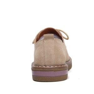 Image 3 - פרה זמש עור נשים דירות אוקספורד נעלי אביב גבירותיי מקרית סניקרס נעלי נעל 2018 מוקסין בתוספת גודל סתיו סירת נעליים
