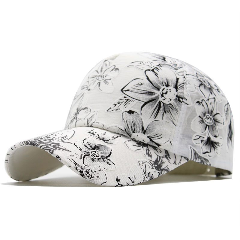 2020 Flower print Women's Baseball Cap Embroidery Flower Girls Snapback Hats Woman Female Cap Mesh Summer Sun Hat 1