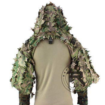 ROCOTACTICAL Tactical Ghillie Suit Breathable Ghillie Viper Hood with 3D Leafy Stripes Sniper Coat for Wargame, Hunting, CS 4