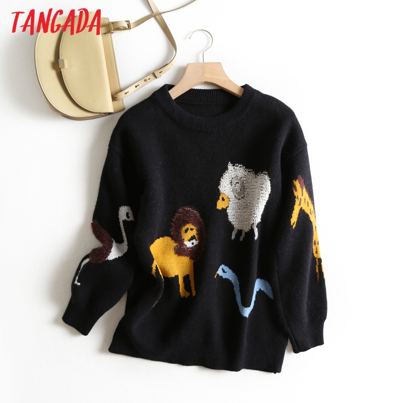 Tangada Women Chic Animal Pattern Jumper Sweater Long Sleeve O Neck Fashion Warm 2019 Autumn Sweet Sweater Female BC41