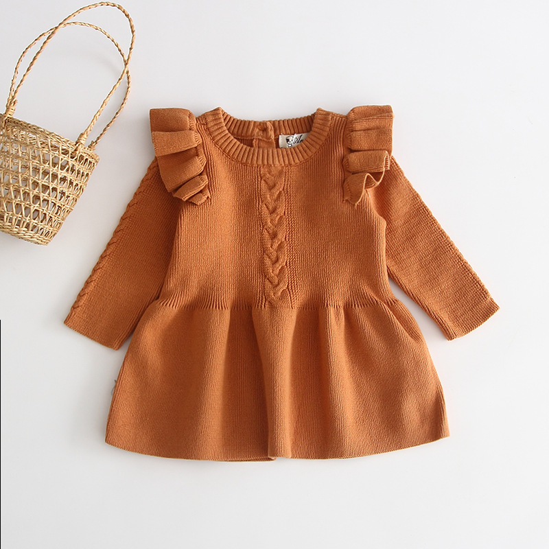H957296b2f3e6435e9a8201fe7aa70d5cn Girls Knitted Dress 2019 autumn winter Clothes Lattice Kids Toddler baby dress for girl princess Cotton warm Christmas Dresses