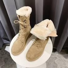 2020 модные зимние ботинки женские на Плоском Каблуке зимняя