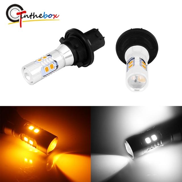 Gtinthebox 2PCS Error Free PH24W PHC24WY 10 SMD LED Front Turn Signal Light Bulbs For Audi Cadillac GMC Porsche etc Amber White