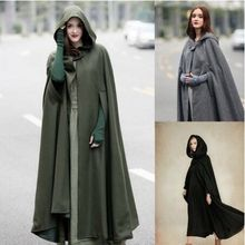 цены Women Poncho Autumn Casual Cape Blue Chic Cloak Girl Boho Fashion Ladies Stylish Poncho Coat Hooded Cape Trendy Witch Cosplay
