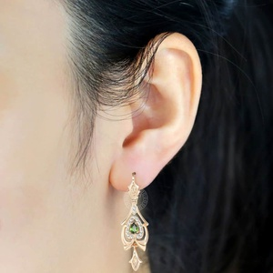 Davieslee , серьги -капли для женщин, каплевидные, оливковый, зеленый , CZ, 585, розовое золото , с покрытием, прозрачный кубический цирконий LGE109