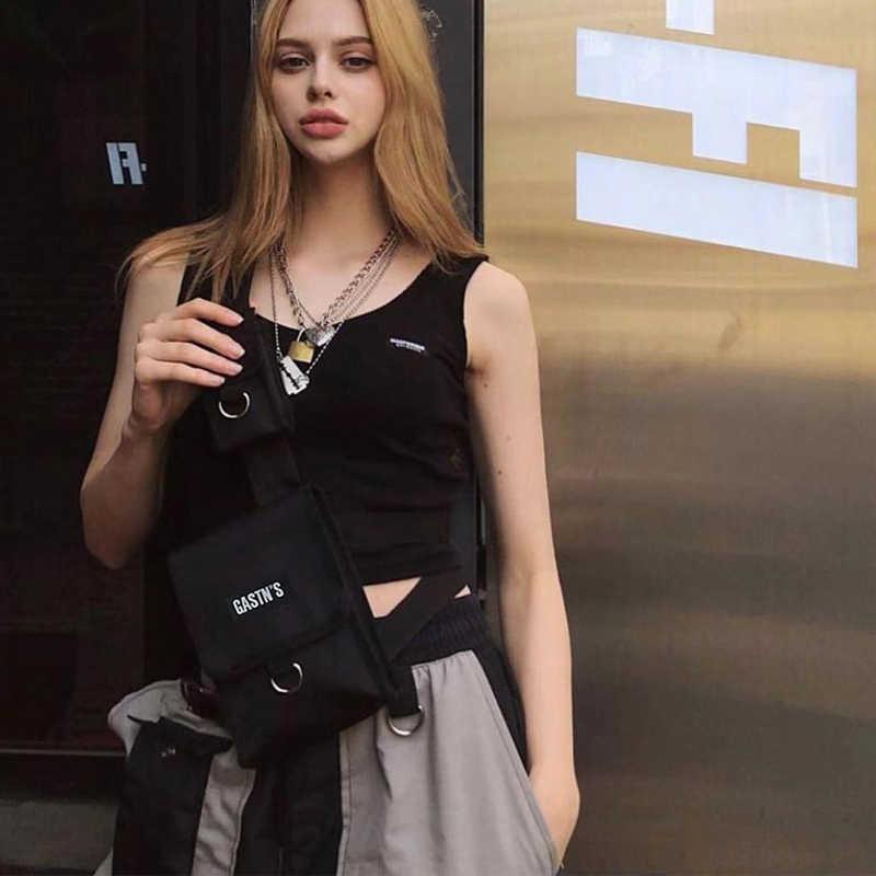 Colete tático streetwear saco para homens hip hop peito rig cintura saco ajustável vários bolsos lona pacote de cintura sacos de peito