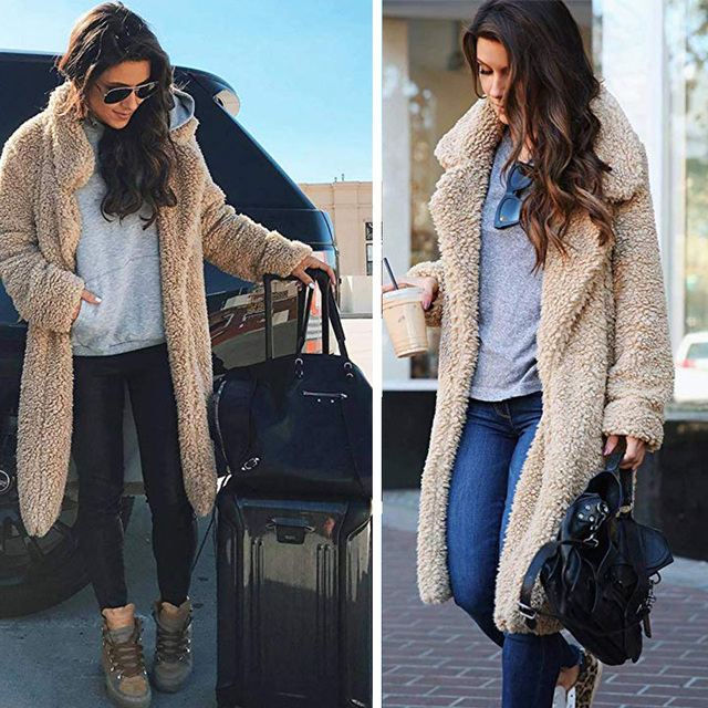 WOMEN'S  Autumn And Winter Teddy Coat Fold-down Collar Furry Solid Cardigan Mid-length Warm Fur Long Warm Outwear