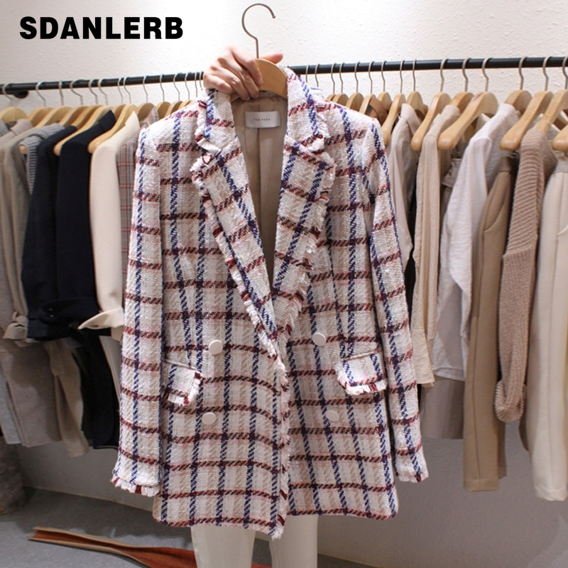 Plaid 2019 Autumn Double Breasted Blazer Women Tweed Jacket Blazer Notched Collar Suits Coat Fashion Houndstooth