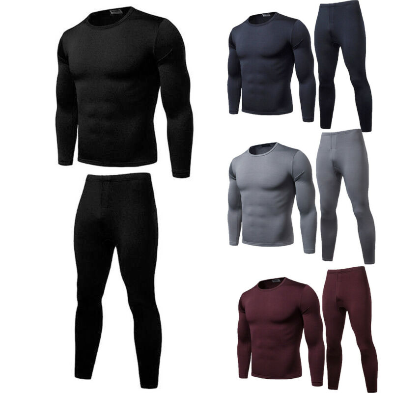 Men's Winter Long Johns Thick Thermal Underwear Sets Keep Warm Ultra-Soft Fleece Lined Thermal Top Bottom Underwear Set