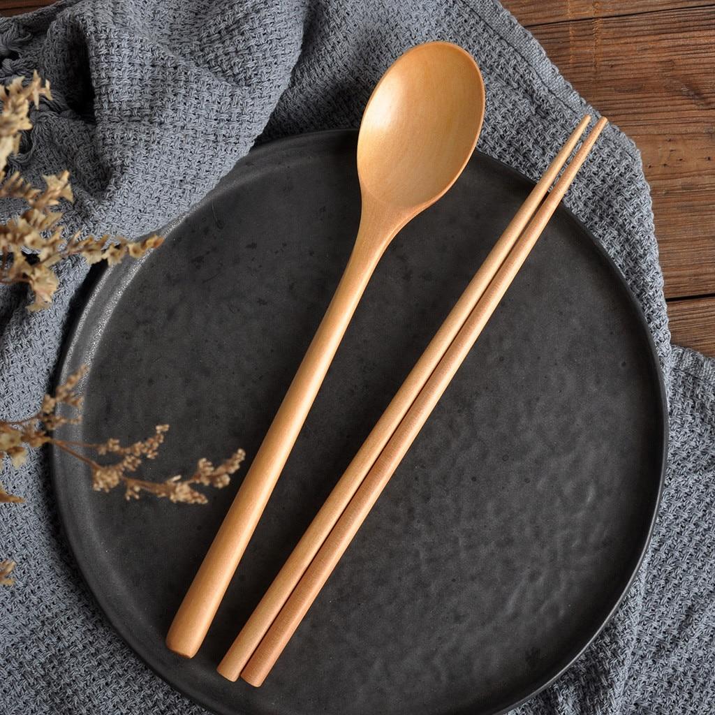 Juego de cuchara y palillos japoneses creativos, 1 par, palillo de madera largo Natural + 1 cuchara, vajilla portátil de regalo de dos piezas