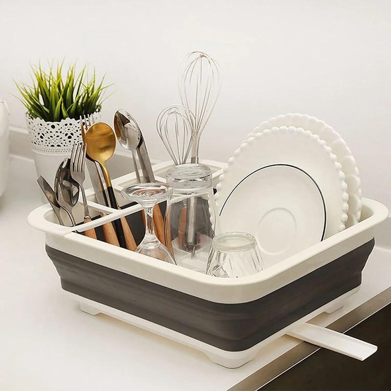 kitchen shelf organizer dish drying rack over stand silicone folding dish drainer rack washing basket drain kitchen organizer