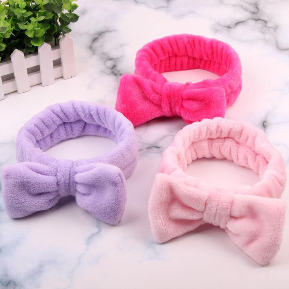 Women Coral Fleece Headband Elastic Hearwear Makeup Hair Bows Hairbands Korean Soft Hair Holder Hairbands Girls Hair Accessories