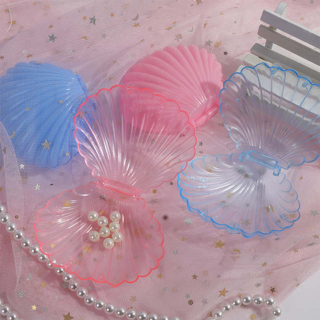 Transparent Seashell Jewelry Necklace Bracelet Storage Organizer Box Case Solid