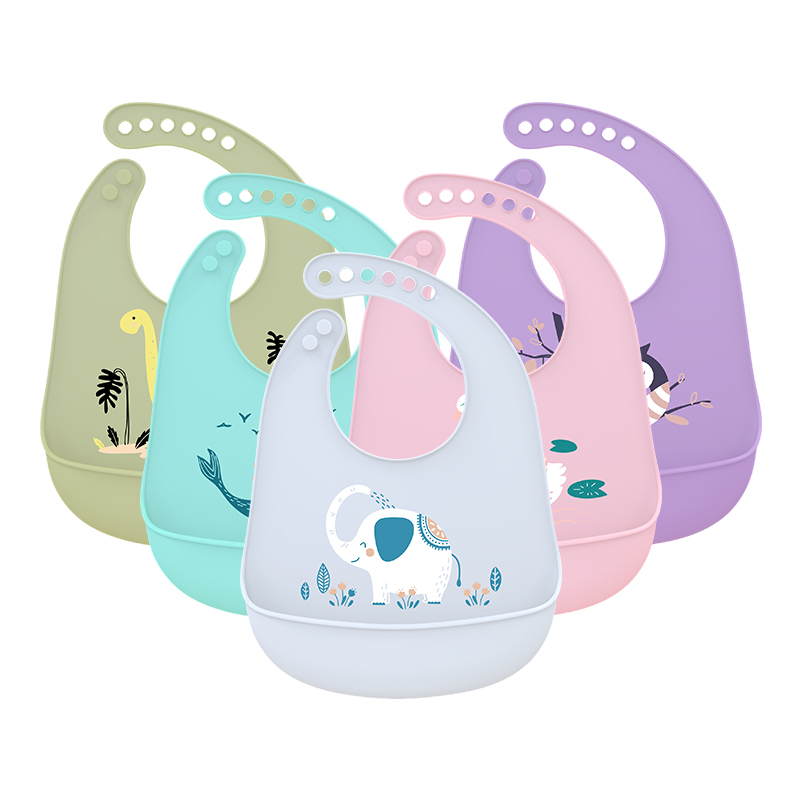 Baby Bib Ssaliva-Towel Animal-Picture Edible Waterproof Silicone Adjustable Soft New