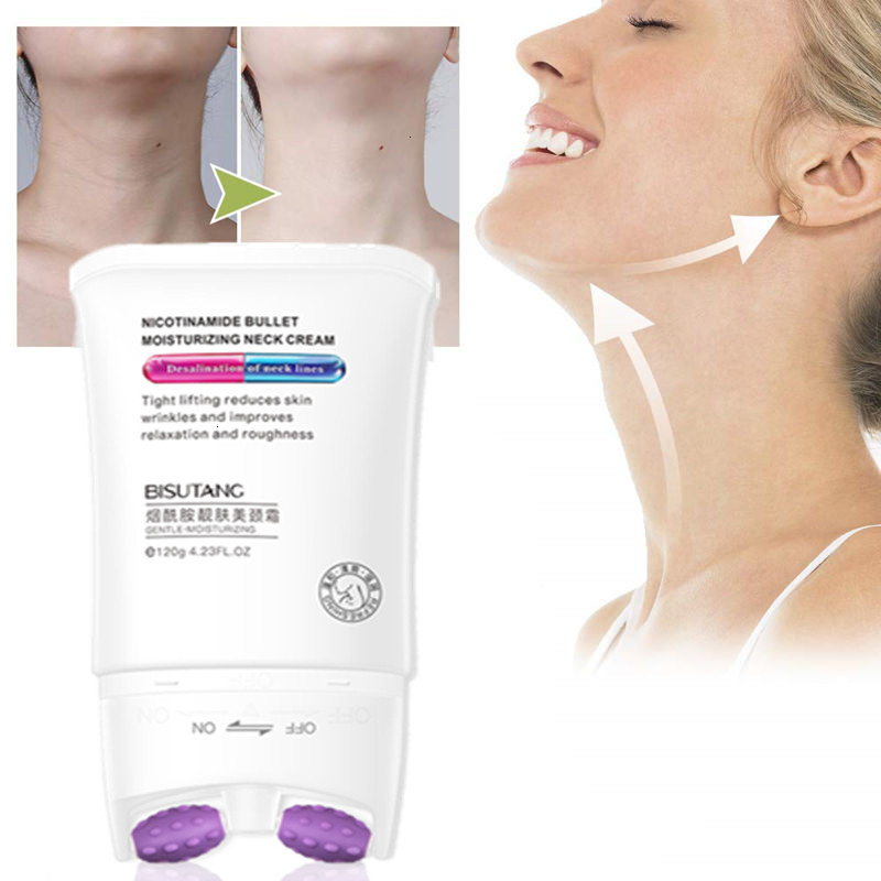 120g Double Roller V-Type Neck Cream Massager Smooth Skin Neck Cream Remove Neckline Wrinkle Lifting Firming Brighten Neck Mask