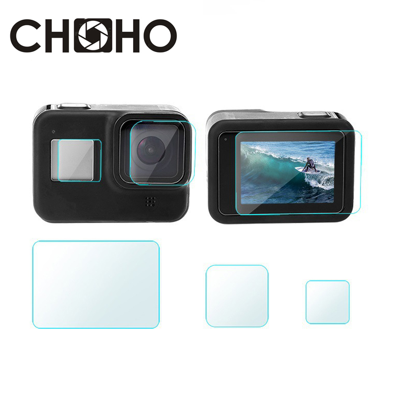 For Gopro 8 Black Accessories Screen Protector Temper Glass Ultra Clear LCD HD + Lens Protecter 3pcs A Set Kit Slim For Go Pro 8