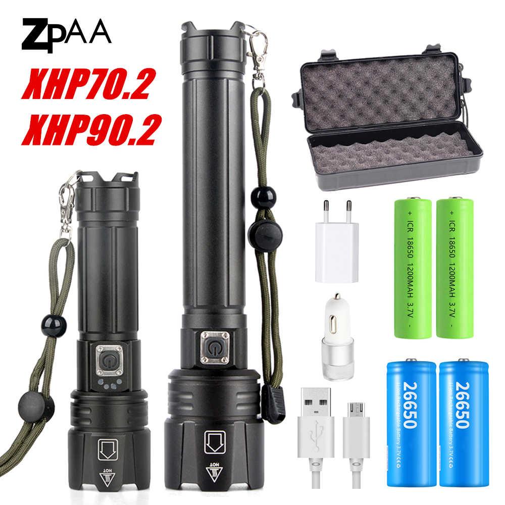 2020 חדש XHP90.2 XHP70.2 LED פנס טקטי עמיד למים לפיד זום ציד קמפינג מנורות 26650 נטענת עוצמה לפיד