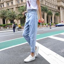 Soot Straight Canister Jeans Model Loose Spring Female Children WOMEN Wide Leg Pants Ankle-length Mid Casual Zipper Fly Show loose fit zipper fly mid waisted straight jeans