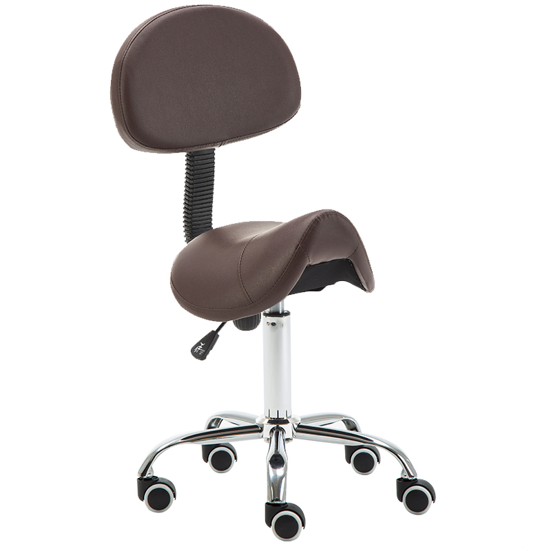 Rolling Salon Stool Swivel Hydraulic Saddle Chair Chromed Steel &Leather Rolling Chair For Tattoo SPA Beauty Massage Hairdresser