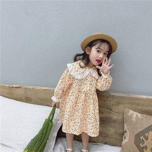 Image 3 - Vestido de princesa con cuello de encaje grande para niña, vestido de princesa con estampado de flores de manga larga de algodón de estilo coreano, novedad de primavera