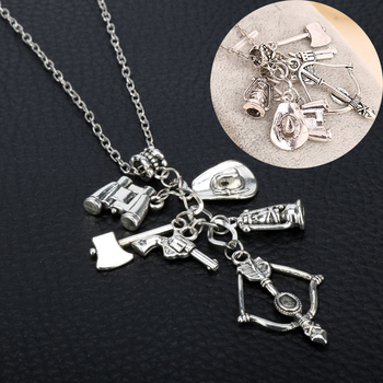 2019 Unique Ancient Silver Color Charm Axe Skull Arrow Long Pendant Walking Dead Personalities Cowboy Multilayer Necklace Gift image