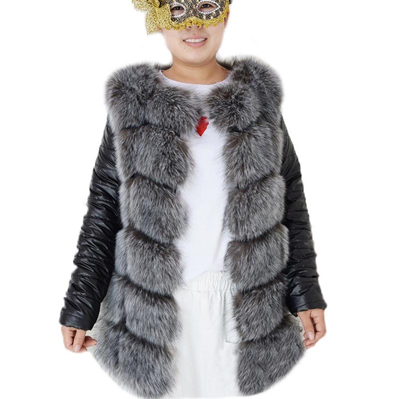 Winter New Women Fur Coat High Imitation Silver Fox Fur Coat Removable Sleeves Thick Warm Coats Fox Coat Overcoat PC214