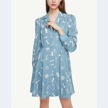 ZA NEW spring women blue dress white chess print Elastic waist chic ladies slim elegant mid Vacation style woman dresses(China)