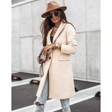 Женское зимнее черное длинное шерстяное пальто уличная одежда