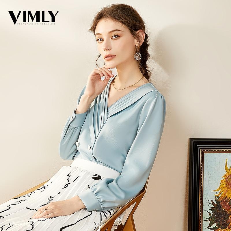Vimly Elegant Women Chiffon Blouse Shirts Office Ladies Blue V Neck Blouses Shirts Female Spring Stylish High Street Top blusas