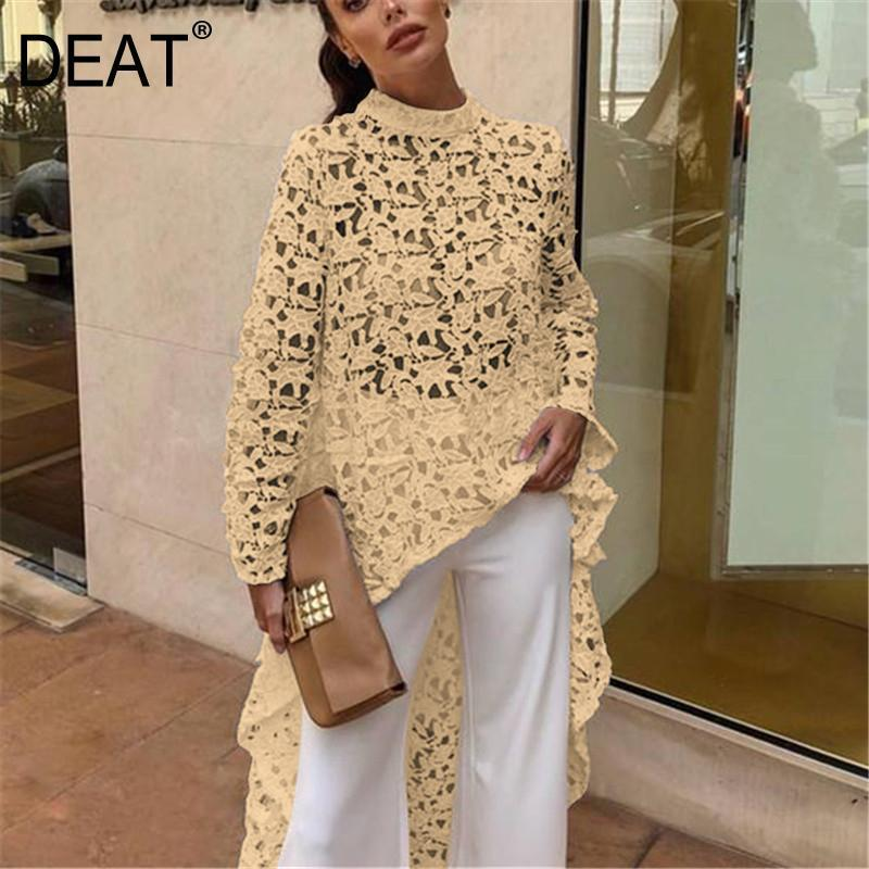 DEAT 2019 New Summer Fashion Autumn Round Neck Full Sleeves Lace Hollow Out Asymmetrical Pullover Female Clothes BF21108XL