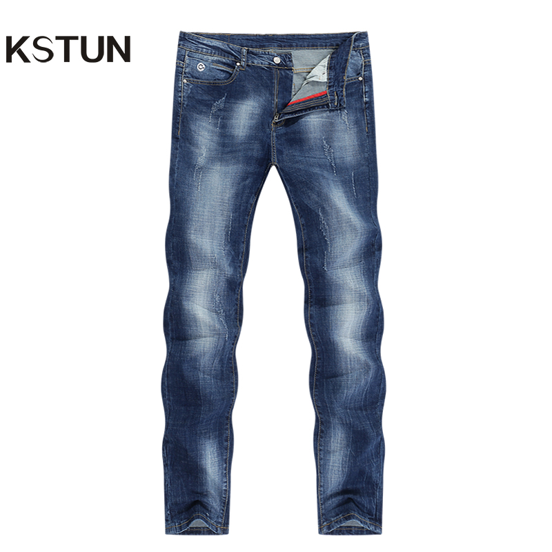 KSTUN Men Jeans Brand 2020 Summer Stretch Business Casual Slim Straight  Jeans Light Blue Male Denim Pants Trousers Plus Size 40