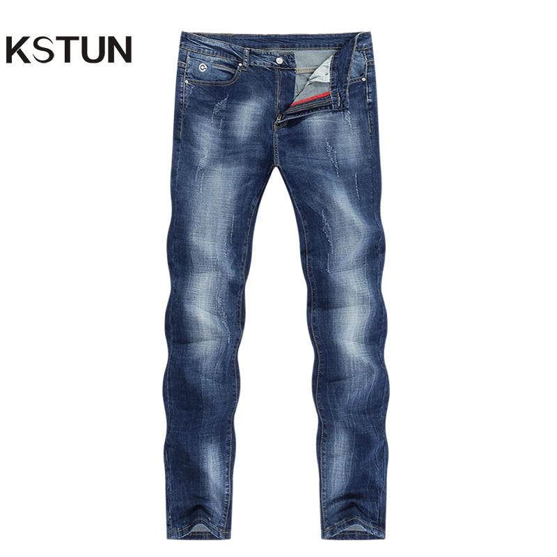 KSTUN Men Jeans Brand 2020 Summer Stretch Business Casual Slim Straight  Jeans Light Blue Male Denim Pants Trousers Plus Size 40
