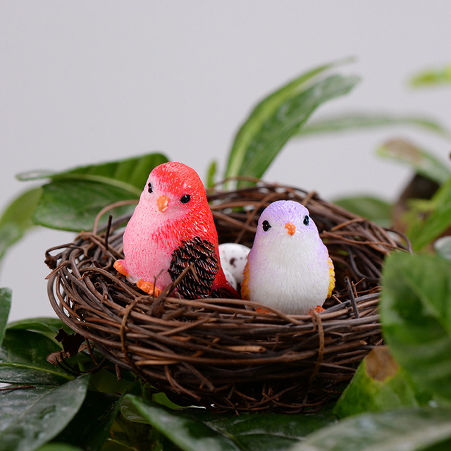 2019 DIY Colored bird mini miniature figurines fairy garden home decor desk decoration accessories christmas miniatures 5