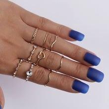 9 шт/компл модное простое кольцо с золотым покрытием набор колец